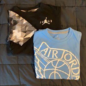 2 Boys Jordan Shirts Size Large Black, Light Blue